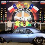 Blue drag racing car